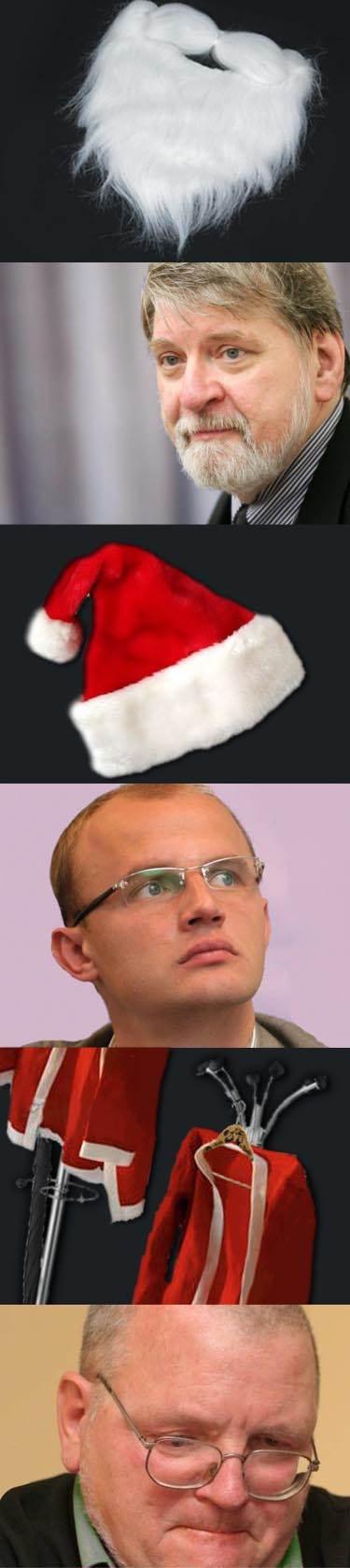 Ne vienam per Kalėdas tenka apsivilkti šventinius kailinius ir pasirišti baltą barzdą – straipsnį iliustruoja K. Tomkevičiūtės fotomontažas.