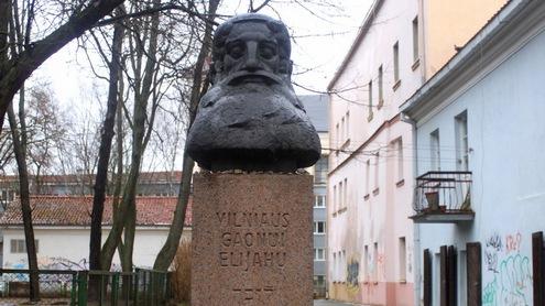 Paminklas Vilniaus Gaonui Žydų gatvėje. Autorės nuotr.