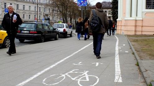"""Viena dažniausiai pasitaikančių """"kliūčių"""" dviračių takuose – pėstieji. Giedrės Trapikaitės nuotr."""