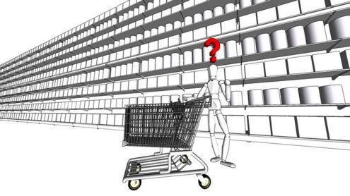 Šiandien prekių tiek, kad sunku išsirinkti. Andriaus Kavaliausko iliustracija.