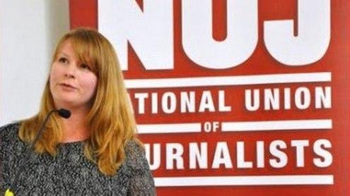 Didžiosios Britanijos nacionalinės žurnalistų sąjungos generalinė sekretorė Michelle Stanistreet.  J. Slattery nuotr.