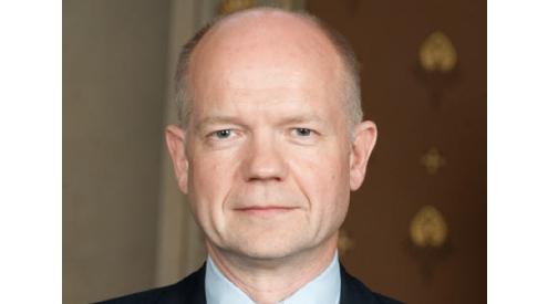 Didžiosios Britanijos užsienio reikalų ministras Williamas Hague'as.