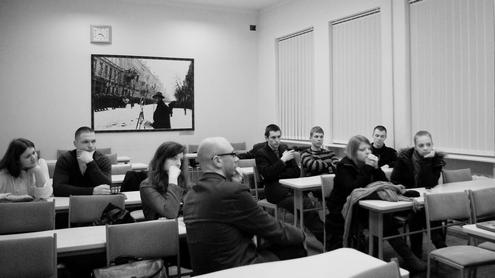 """Filmo ,,Sudie, Leninai!"""" peržiūra Žurnalistikos institute. Ievos Blaževičiūtės nuotr."""
