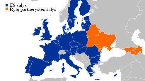 Žemėlapis vaizduojantis programoje dalyvaujančias šalis. V. Chockevičiutė