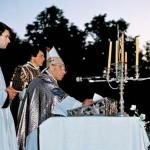 Šv. Mišios Katedros aikštėje. Kardinolas Vincentas Sladkevičius. 1990 m. birželio 14 d.