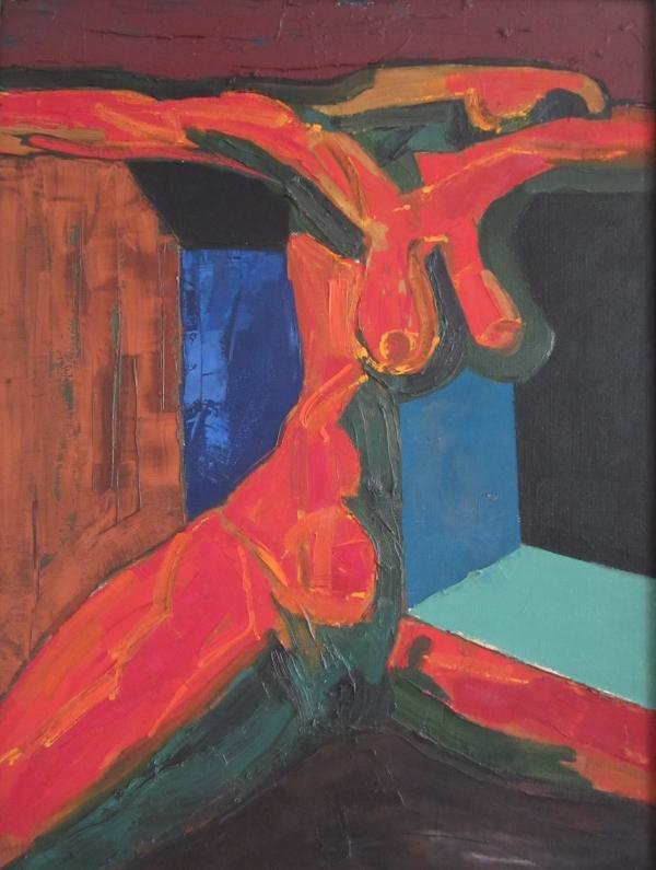"""V. Kisarauskas """"Įrėmintas skausmas ir žali prisiminimai"""" (diptichas) II 1976 03 (kartonas, aliejus). (Nuotr. A. Mikuckytė)"""