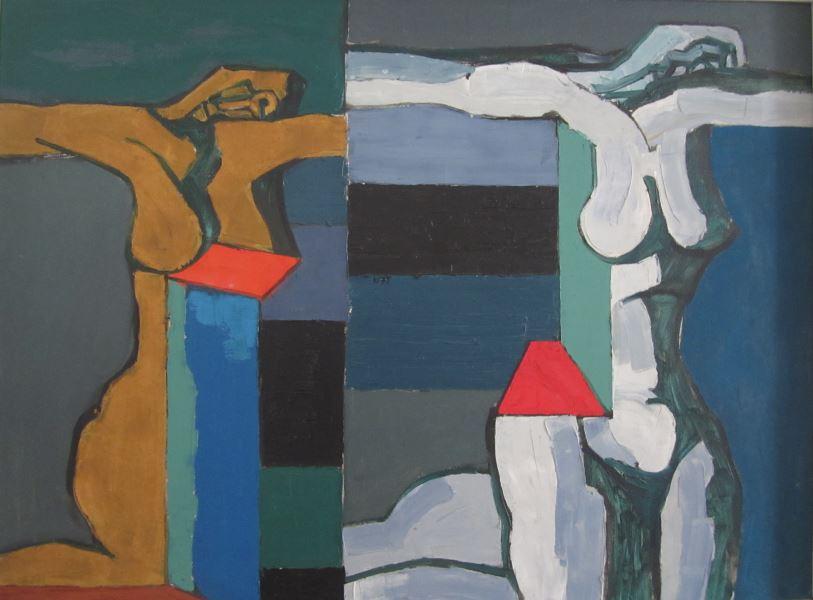 """Vincas Kisarauskas """"Ismena ir Antigona"""", 1975 (kartonas, aliejus) (I. Švaistytės kolekcija) (Nuotr. A. Mikuckytė)"""