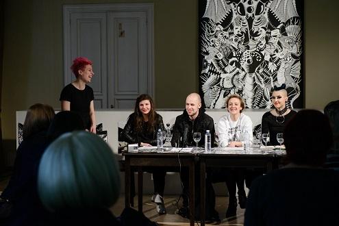 Spaudos konferencijos dalyviai: moderatorė K. Žičkytė, režisieriai K. Gudmonaitė ir V. Bareikis, festivalio meno vadovė G. Tuminaitė, menininkė Shaltmira. L. Vansevičienės nuotr.