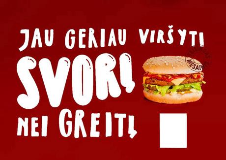 Dėl šios mėsainio reklamos vartotojo skundo pagrindu Valstybinėje vartotojų teisių tarnyboje pradėtas tyrimas. ELTA nuotr.