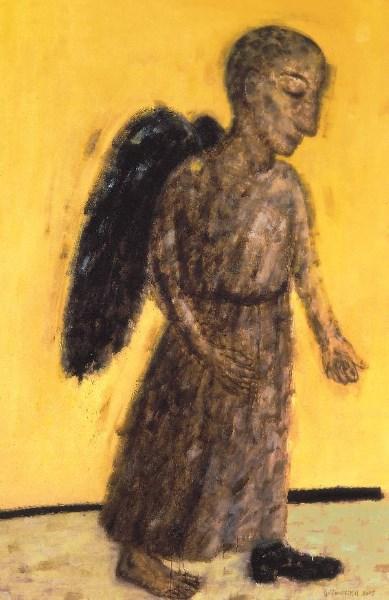 """A. Jacovskis """"Einantis pro šalį juodais sparnais"""" (2005; 200x130; drobė, aliejus). Iš A. Jacovskio asmeninio archyvo."""