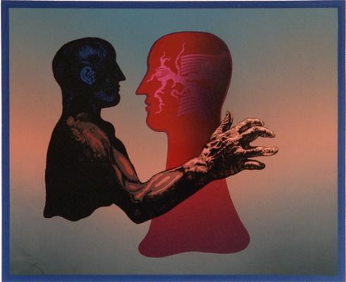 """M. P. Vilutis """"Raudonas šešėlis"""" (serigrafija; 2000; 32x39). Iš M. P. Vilučio asmeninio archyvo."""
