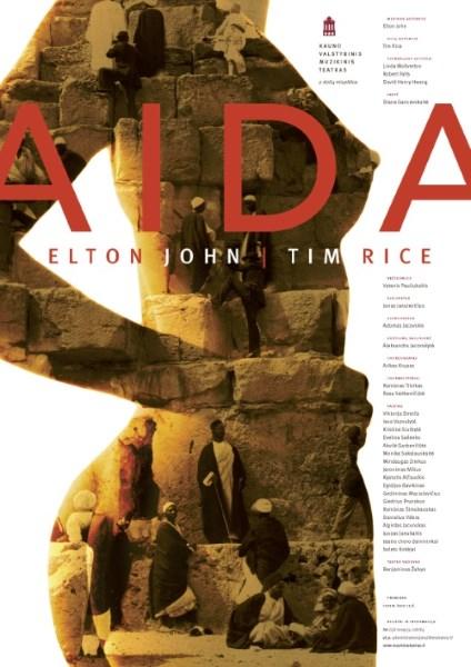 """J. Jacovskio maketuotas plakatas Eltono Johno ir Timo Rice'o miuziklui """"Aida"""" (rež. Vytenis Pauliukaitis; Kauno Muzikinio teatras; 2011 m.). Iš J. Jacovskio asmeninio archyvo."""