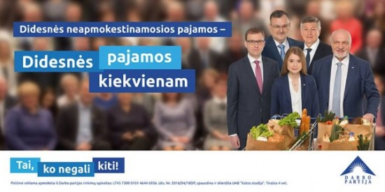 Šių metų Darbo partijos rinkiminių plakatų pirmosiose eilėse Viktorą Uspaskichą pakeitė jo politinė krikštaduktė Ieva, kaip gėlelė apsupta keturių partijos lyderių – Valentino Mazuronio, Artūro Paulausko, Kęstučio Daukšio ir Vytauto Gapšio. Darbo partijos nuotr.