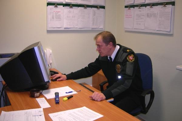 Muitinės pamainos viršininkas Algirdas Korsakas. Autorės nuotr.