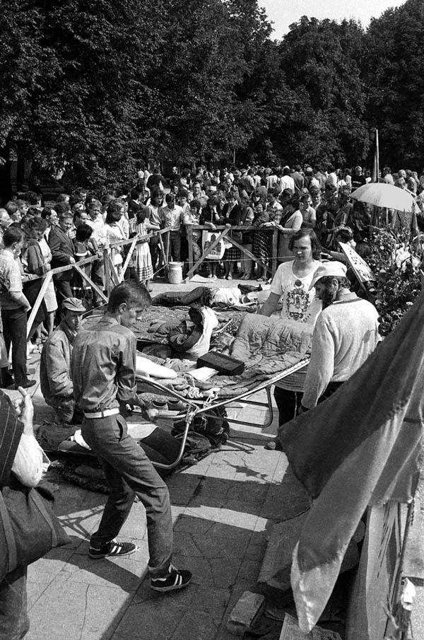 L. Skirpsto nuotrauka. 1988 m. Bado streikas.