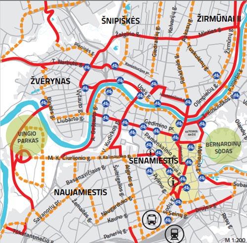 Aktyviausiai naudojami dviračių takai Vilniuje. Vilnius.lt žemėlapis.