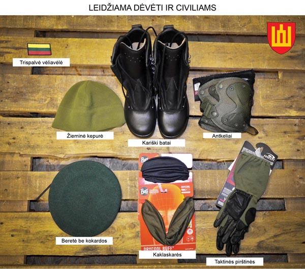 Kario uniformos detalės, kurias Lietuvoje leidžiama dėvėti civiliams. KAM nuotr.
