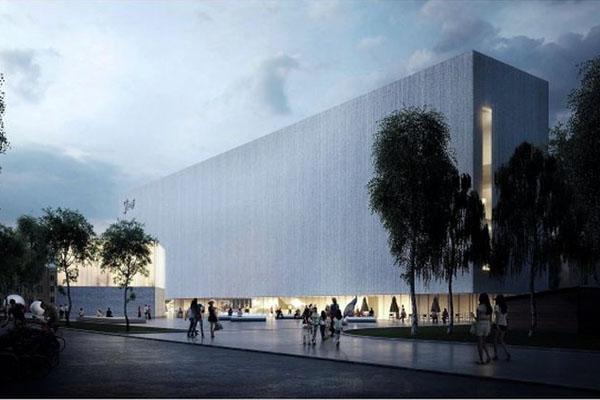 """Stasio Eidrigevičiaus meno centras įsikurs kino centro """"Garsas"""" vietoje. Būsimojo projekto vaizdas iš šono. """"Syrusas"""" MB aka """"Implmnt Architects"""" nuotr."""