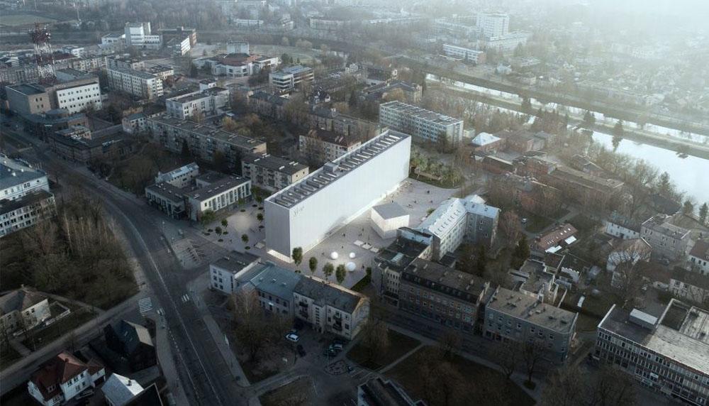"""Naujai Panevėžio centre iškilsiantis projektas ne tik įsilies į dabartinę miesto architektūrą, bet ir suteiks naują atspirtį ateities statyboms. Būsimojo projekto nuotrauka. """"Syrusas"""" MB aka """"Implmnt Architects"""" nuotr."""